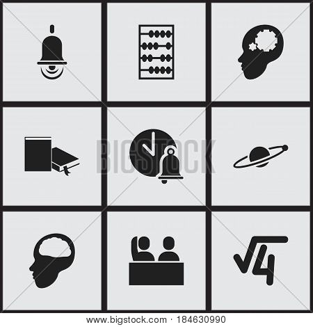 Set Of 9 Editable Science Icons. Includes Symbols Such As Arithmetic, Cerebrum, Student And More. Can Be Used For Web, Mobile, UI And Infographic Design.