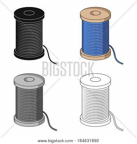 A reel of blue thread.Sewing or tailoring tools kit single icon in cartoon style vector symbol stock web illustration.