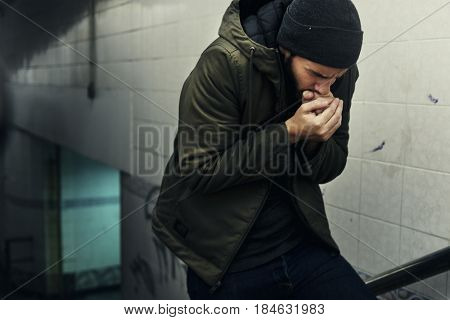 Cold Adult Man Walk Hopeless Up the Stairway