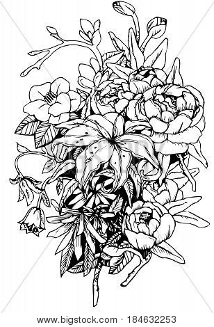 Bouquet of flowers with lilies, chamomiles, magnolias branch, camellia, bells, leaves, buds, vector graphics