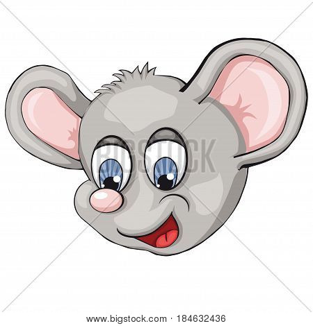Mouse's head. Cartoon style. Isolated image on white background. Clip art for children.
