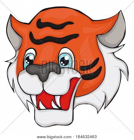 Tiger's head. Cartoon style. Isolated image on white background. Clip art for children.