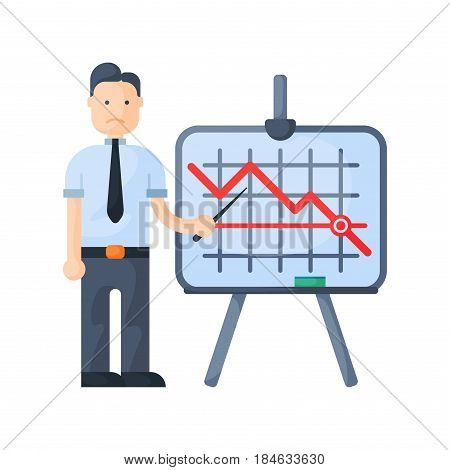 Crisis man concept problem economy banking character business arrow finance design investment icon vector illustration. Bankruptcy exchange depression credit recession falling sign.