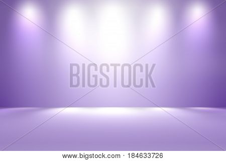 Empty purple stage room studio with spotlight backdrop, soft purple tone, used for background and display your product