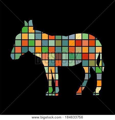 Donkey farm mammal color silhouette animal. Vector Illustrator.
