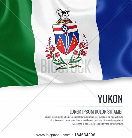 Canadian state Yukon flag waving on an isolated white background. State name and the text area for your message.