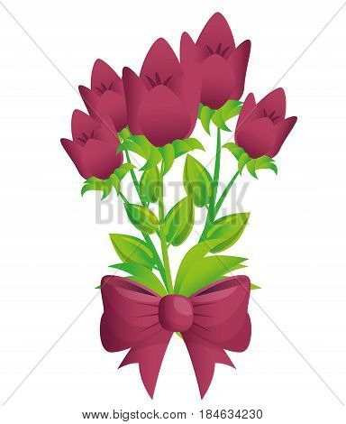 cute flowers with bown vector illustration design