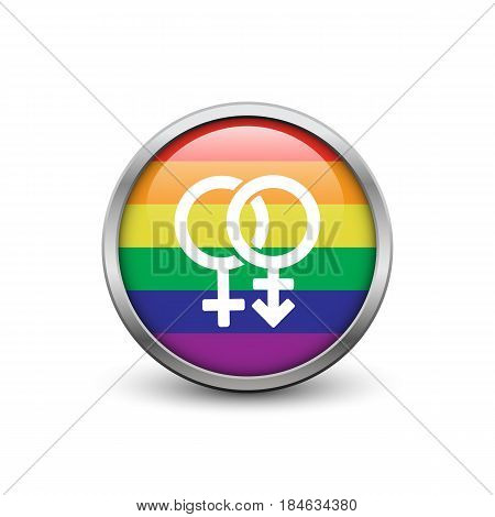 LGBT rainbow flag with transgender symbol button with metal frame and shadow