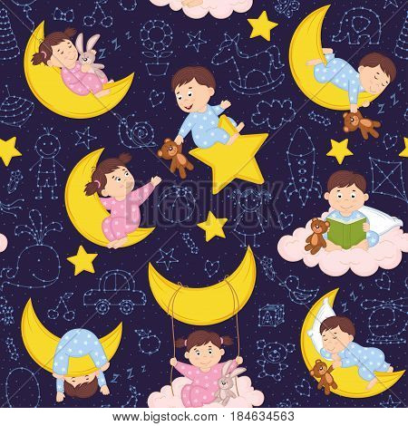 seamless pattern with babies on the moon - vector illustration, eps