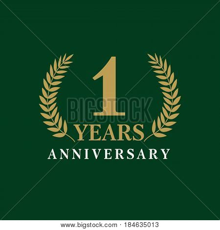 1 year anniversary royal logo. Template logo 1th anniversary with a frame in the form of laurel branches and the number one. Celebration vector illustration
