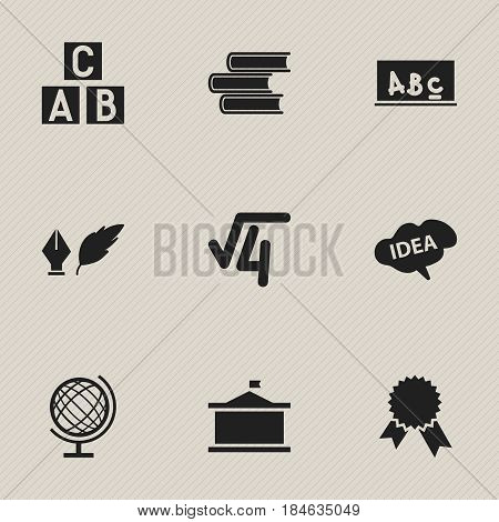 Set Of 9 Editable Graduation Icons. Includes Symbols Such As Math Root, Univercity, School Board And More. Can Be Used For Web, Mobile, UI And Infographic Design.