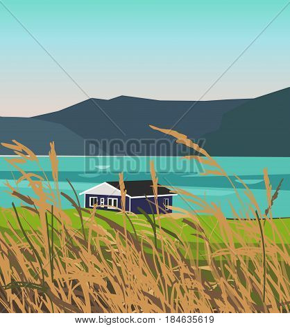 Landscape illustration of mountains near the lake and field on the foreground. You can use it like background for your logo, banner, or for landing page.