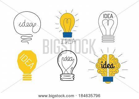 Cartoon lamp electric and bright cartoon interior flat vector brainstorming. Idea light bulb electricity design illustration isolated creative invention imagination business creativity.