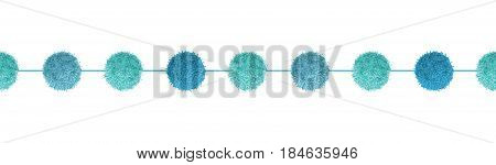 Vector Pom Poms Baby Boy Blue Decorative With Ropes Horizontal Seamless Repeat Border Pattern. Great for nursery room, handmade cards, invitations, wallpaper, packaging, baby girl designs. Surface pattern design.