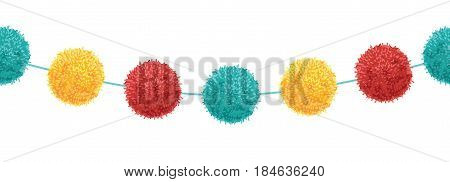 Vector Cute Birthday Party Pom Poms Set On A String Horizontal Seamless Repeat Border Pattern. Great for handmade cards, invitations, wallpaper, packaging, nursery designs. Surface pattern design.