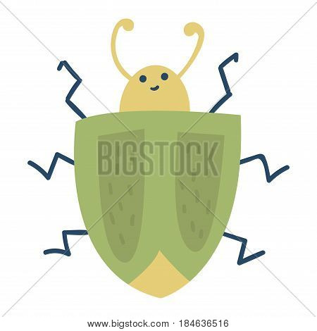 Colorful insect icon isolated wildlife wing detail summer bug wild spider bee vector illustration. Nature pest beetle stink small art sign colorful biology green stinkbug.