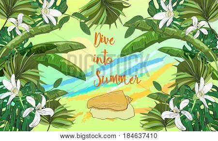 Hand drawn sea scape background with tropical leaves, flowers, seashell and sun. Dive into summer.
