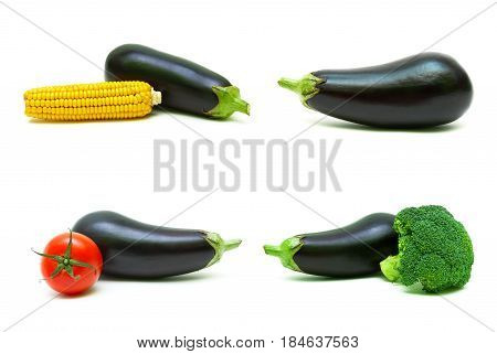 Eggplant and other vegetables on a white background. Horizontal photo.