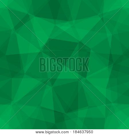 Abstract seamless light and dark green overlapping triangles pattern for background. Transparency geometric layout for printing magazine cover, advertise presentation. Effect of a kaleidoscope.