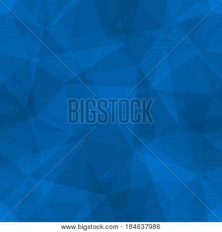 Abstract seamless light and dark blue overlapping triangles pattern for background. Transparency geometric layout for printing magazine cover, advertise presentation. Effect of a kaleidoscope.