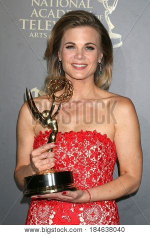 LOS ANGELES - APR 30:  Gina Tognoni, The Young and The Restless in the 44th Daytime Emmy Awards Press Room at the Pasadena Civic Auditorium on April 30, 2017 in Pasadena, CA