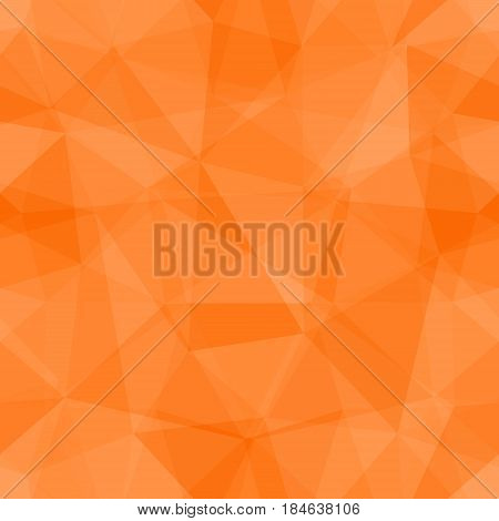 Abstract seamless light and dark orange overlapping triangles pattern for background. Transparency geometric layout for printing magazine cover, advertise presentation. Effect of a kaleidoscope.
