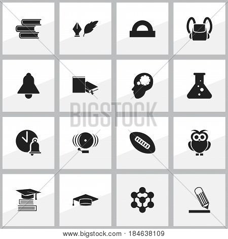 Set Of 16 Editable Graduation Icons. Includes Symbols Such As Bookmark, School Bell, Chemistry And More. Can Be Used For Web, Mobile, UI And Infographic Design.
