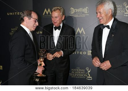 LOS ANGELES - APR 29:  Harry Friedman, Pat Sajak, Alex Trebek at the 2017 Creative Daytime Emmy Awards at the Pasadena Civic Auditorium on April 29, 2017 in Pasadena, CA