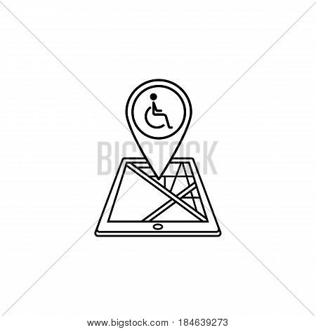 Invalid map pointer line icon, mobile gps navigation and location, disability pin on tablet vector graphics, a linear pattern on a white background, eps 10.