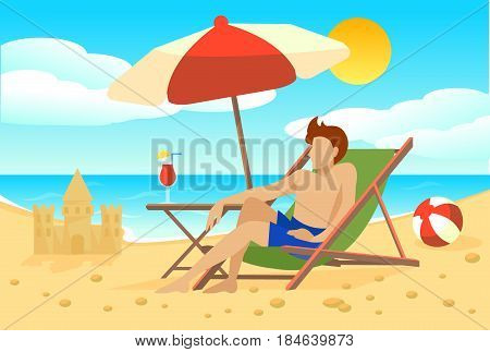 Flat summer vacation concept with umbrella ball cocktail and man sitting in chaise longue on beach vector illustration