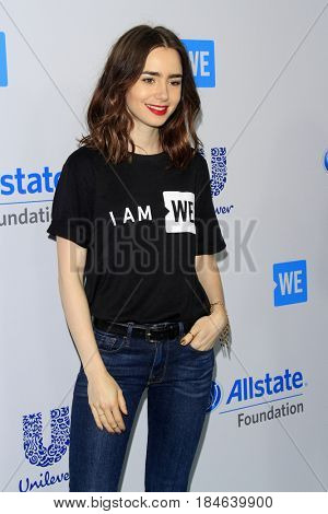 LOS ANGELES - APR 27:  Lily Collins at the We Day California 2017 at The Forum on April 27, 2017 in Inglewood, CA