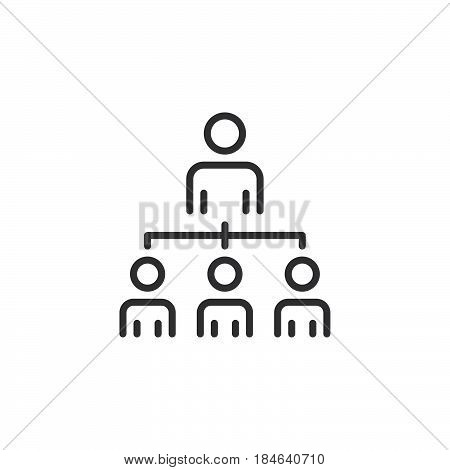 Organizational structure of the company line icon outline vector sign linear pictogram isolated on white. Leadership symbol logo illustration