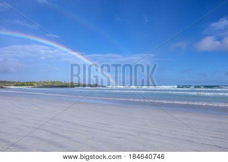 Double Rainbows Over Tortuga Bay or Beach in Galapagos Islands Ecuador
