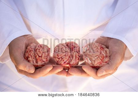 Hands holding a plastic punnet of three brains