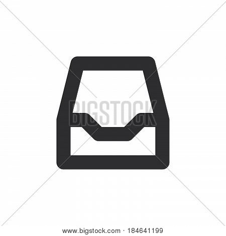 Inbox thick line icon outline vector sign linear simple pictogram isolated on white. Symbol logo illustration