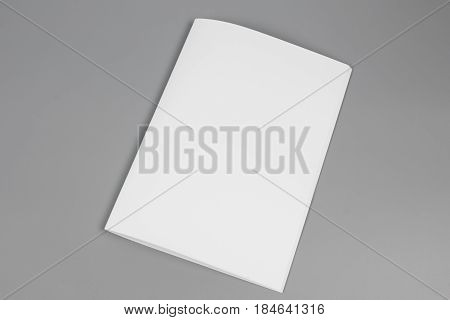 Blank portrait A4. brochure magazine isolated on gray, changeable background / white paper isolated on gray