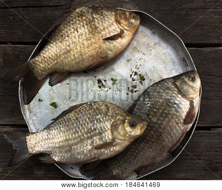 Three crucian carp (river fish) in a round aluminum bowl on a wo
