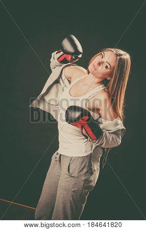 Woman With Boxing Gloves Wear Sportswear.