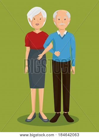 Couple of grand parents vector illustration design