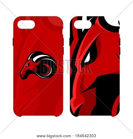Furious ram sport club vector logo concept smart phone case isolated on white background.  Modern professional team badge mascot design. Premium quality wild ram animal cell phone cover illustration.