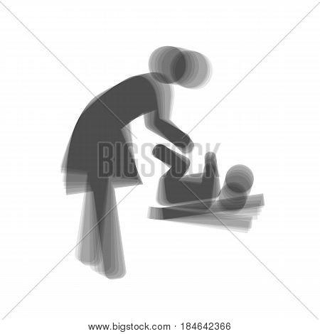 Women and baby symbol, baby changing. Vector. Gray icon shaked at white background.