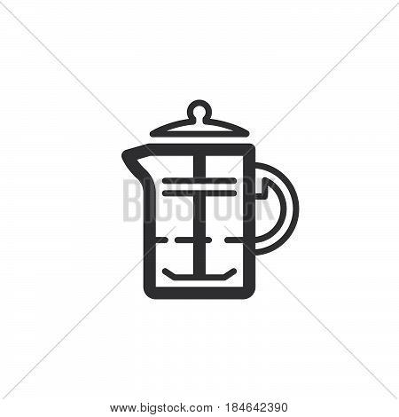 French press coffee plunger line icon outline vector sign linear pictogram isolated on white. Symbol logo illustration