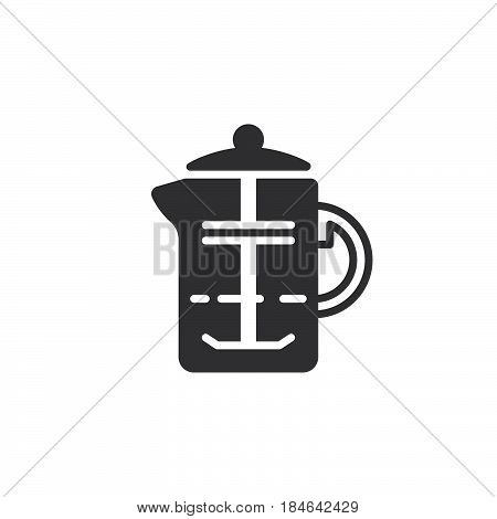 French press coffee plunger icon vector filled flat sign solid pictogram isolated on white. Symbol logo illustration