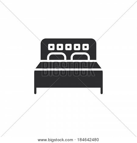 Double bed icon vector filled flat sign solid pictogram isolated on white. Symbol logo illustration