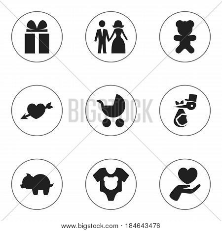 Set Of 9 Editable Kin Icons. Includes Symbols Such As Gift, Heart, Moneybox And More. Can Be Used For Web, Mobile, UI And Infographic Design.