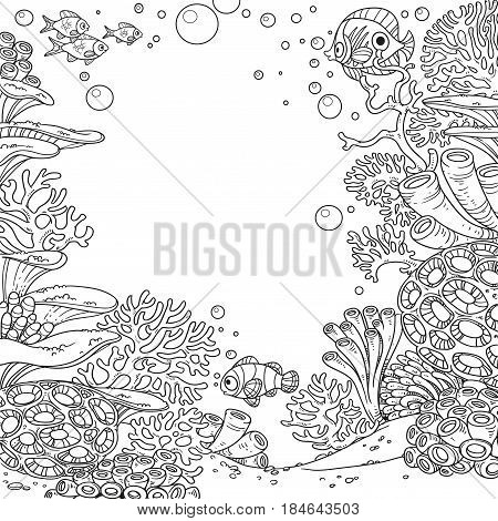 Underwater World With Corals, Anemones And Fish Outlined Isolated On White Background