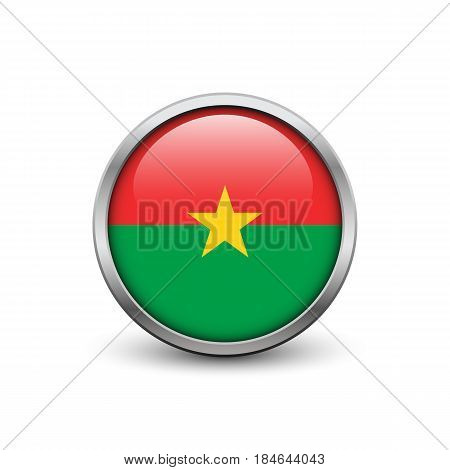 Flag of Burcina Faso button with metal frame and shadow