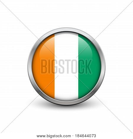 Flag of Cote d'Ivoire button with metal frame and shadow