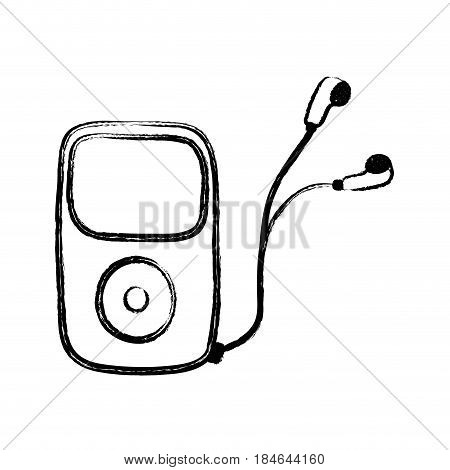 figure mp3 player with headphones to listen music, vector illustration
