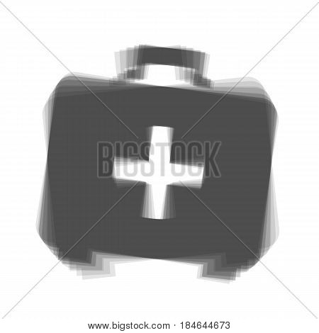 Medical First aid box sign. Vector. Gray icon shaked at white background.